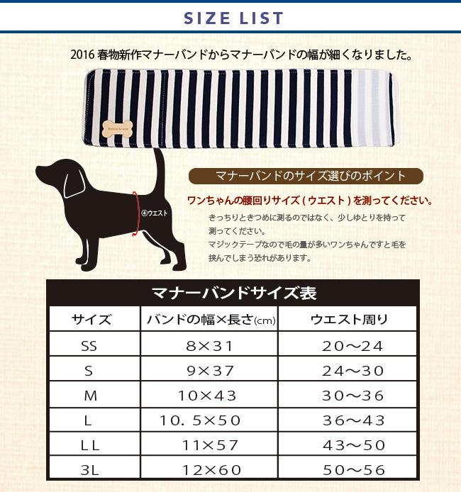マナーバンドサイズ表